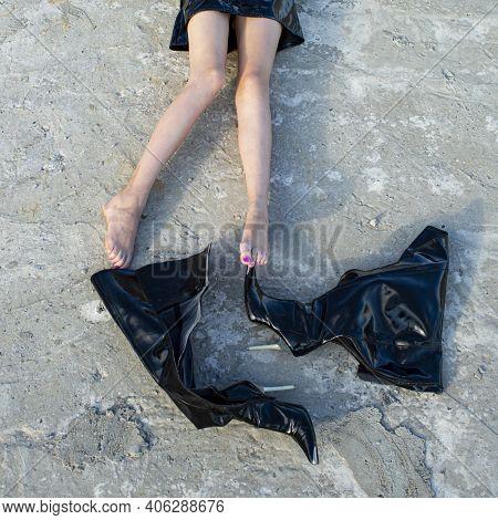 Fetish Fashion. Girl Sexy Legs In High Boots. Seductive Woman Feet