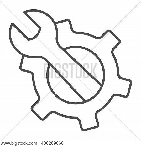 Wrench In Gear Thin Line Icon, Labour Day Concept, Service Tool Sign On White Background, Mechanism