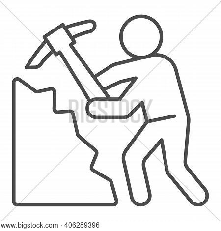 Miner With Pickaxe Thin Line Icon, Labour Day Concept, Pile Of Coal And Man With Pickaxe Sign On Whi
