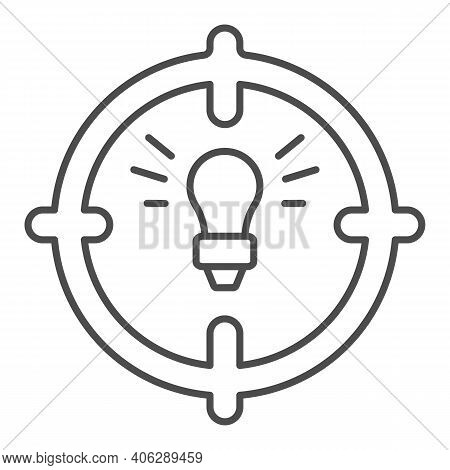 Lamp In Target Thin Line Icon, Startup Concept, Objective Idea Sign On White Background, Light Bulb