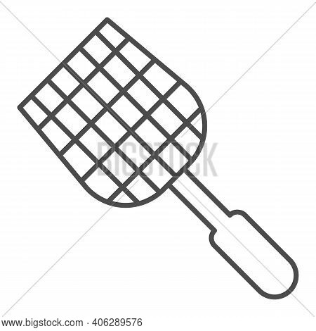 Fly Swatter Thin Line Icon, Pest Control Concept, Flyswatter Symbol On White Background, Fly Swatter
