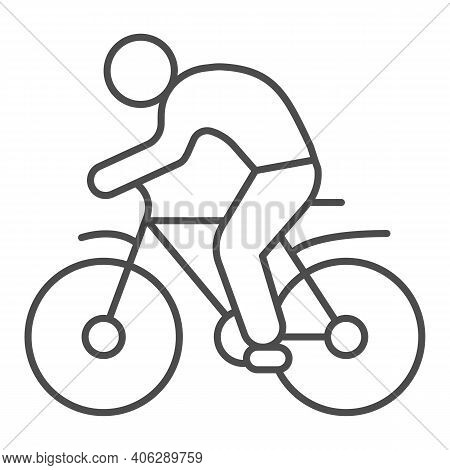 Man On Bike Thin Line Icon, Sport Concept, Bicyclist Silhouette Sign On White Background, Person Rid