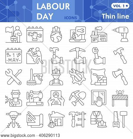 Labour Day Thin Line Icon Set, Labor Day Symbols Collection Or Sketches. Industry And Workforce Line
