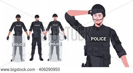 Set Mix Race Policemen In Full Tactical Gear Riot Police Officers Protesters And Demonstration Riots