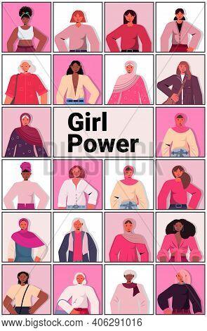 Set Mix Race Girls Avatars Female Empowerment Movement Womens Power Union Of Feminists Concept Verti