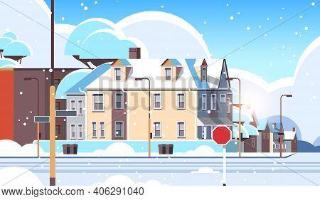 City Facade Buildings Empty No People Urban Street Real Estate Houses Exterior Winter Snowfall Citys