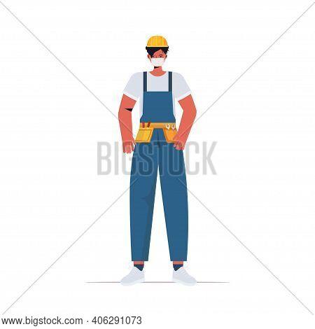 Workman In Uniform Wearing Mask To Prevent Coronavirus Pandemic Labor Day Celebration Concept Constr