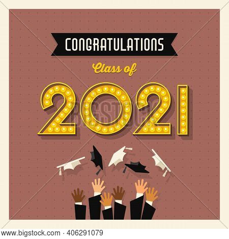 2021 Graduation Card Or Social Media Design With Vintage Light Bulb Sign Numbers And Graduates Throw