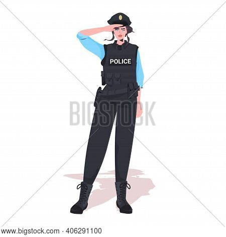 Policewoman In Tactical Gear Riot Police Officer Standing Pose Protesters And Demonstration Control
