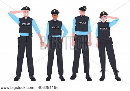 Mix Race Policemen In Tactical Gear Standing Together Riot Police Officers Protesters And Demonstrat