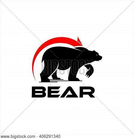 Logo Bear Market Trading Animal Vector Silhouette Business And Financial Design Template Idea