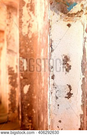 Aged Background Street Texture Concrete Wall.old Gray Concrete Fence. Close-up Of A Rough Texture Of