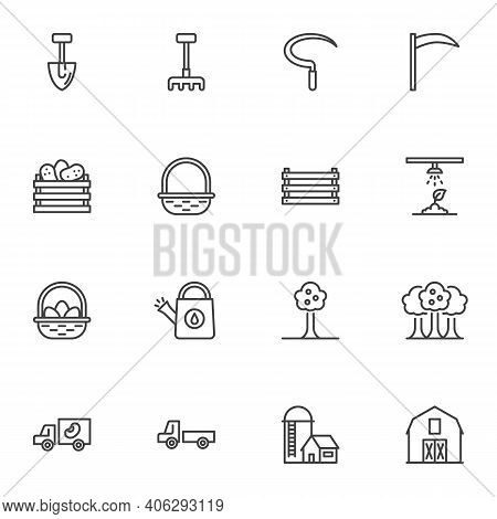 Farming And Gardening Line Icons Set, Outline Vector Symbol Collection, Linear Style Pictogram Pack.