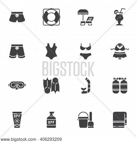 Summer Beach Vector Icons Set, Modern Solid Symbol Collection, Filled Style Pictogram Pack. Signs, L