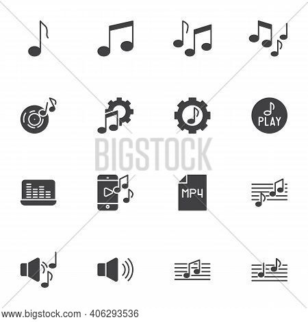 Sound And Music Vector Icons Set, Modern Solid Symbol Collection, Filled Style Pictogram Pack. Signs