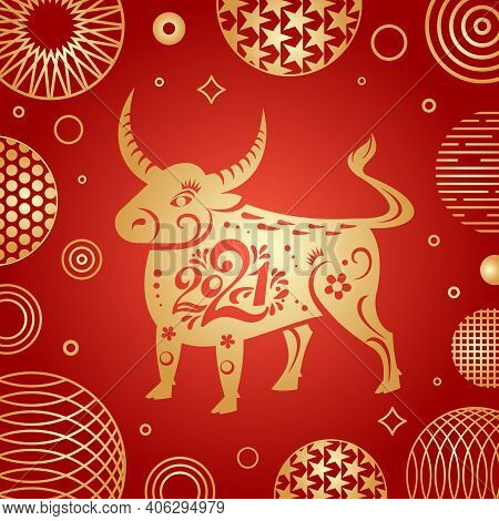 The Year Of The Bull 2021. Vector Ox Character Of The Eastern Calendar. Oriental Concept Of Chinese