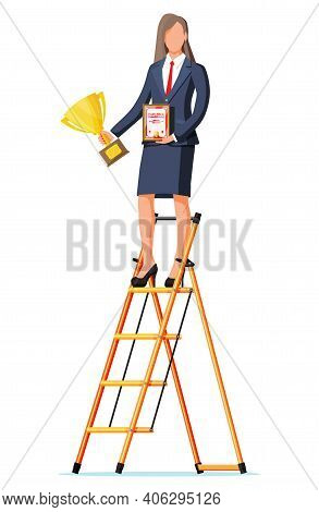 Businesswoman On Ladder Holding Trophy, Showing Award Certificate Celebrates Victory. Business Succe