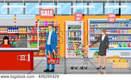Supermarket Store Interior With Goods. Big Shopping Mall. Groceries Shop. Inside Of Super Market. Cu