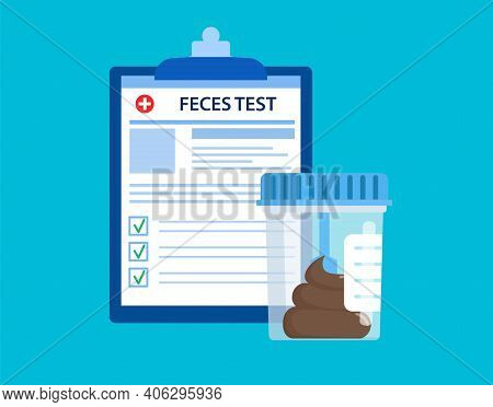 Stool Feces Test Plastic Jar And Medical Lab Analysis Form List With Results Data. Medical Stool Fec