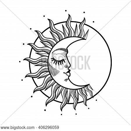Boho Illustration, Stylized Vintage Design, Sleeping Crescent Moon With Face, Stylized Abstract Illu