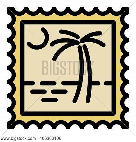 Island Postmark Icon. Outline Island Postmark Vector Icon For Web Design Isolated On White Backgroun