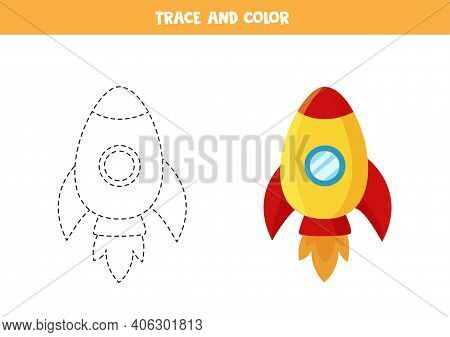 Trace And Color Cartoon Rocket. Space Worksheet For Kids.