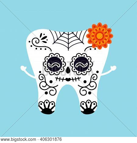 Skull Tooth For Mexican Day Of The Dead Isolated Vector Icon. Skeleton Carnival Makeup Tooth Girl Wi