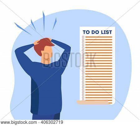 Man Looking At Too Long To Do List. Panic, Overwork, Deadline. Flat Vector Illustration. Time Manage