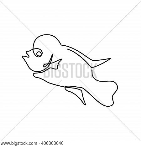 Fish Vector. Fish Continuous Line. Fish Illustration. Flowerhorn Fish. Fish Graphic Template.