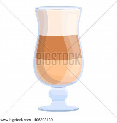 Latte Cappuccino Icon. Cartoon Of Latte Cappuccino Vector Icon For Web Design Isolated On White Back