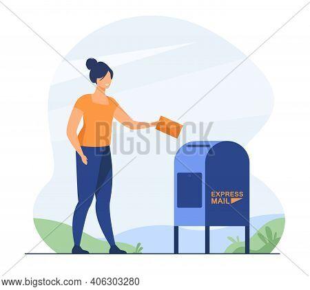 Woman Sending Paper Letter. Sender Inserting Envelope To Mailbox. Flat Vector Illustration. Express