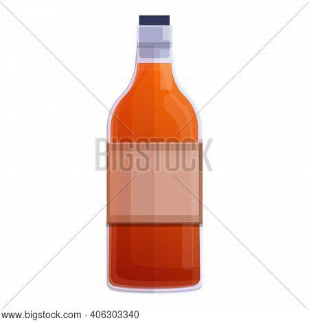 Bourbon Whiskey Bottle Icon. Cartoon Of Bourbon Whiskey Bottle Vector Icon For Web Design Isolated O
