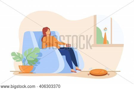 Happy Woman Relaxing At Home And Using Remote Control. Person Resting I Armchair. Flat Vector Illust