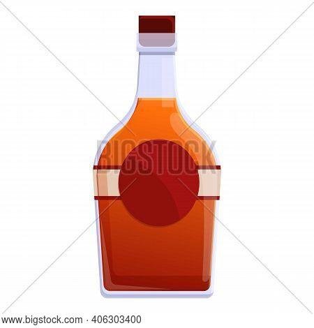 Bourbon Malt Bottle Icon. Cartoon Of Bourbon Malt Bottle Vector Icon For Web Design Isolated On Whit