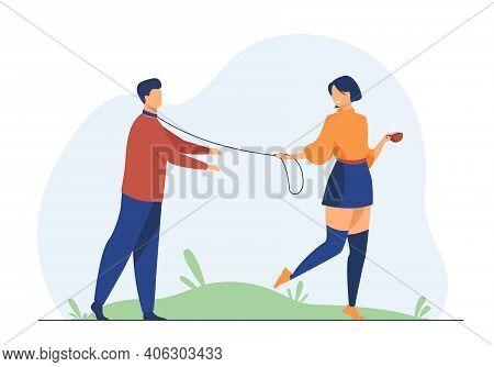 Cheerful Woman Leading Boyfriend On Leash. Dominant, Manipulator, Addict. Flat Vector Illustration.