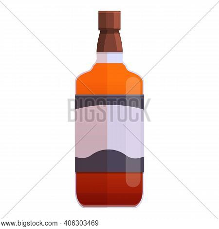 Bourbon Beverage Bottle Icon. Cartoon Of Bourbon Beverage Bottle Vector Icon For Web Design Isolated