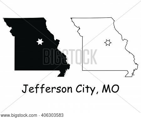 Missouri Mo State Map Usa With Capital City Star At Jefferson City. Black Silhouette And Outline Iso