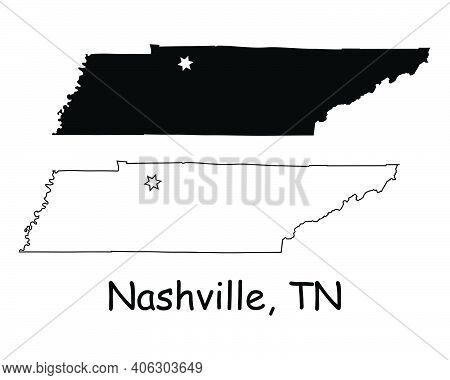 Tennessee Tn State Map Usa With Capital City Star At Nashville. Black Silhouette And Outline Isolate