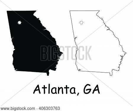 Georgia Ga State Map Usa With Capital City Star At Atlanta. Black Silhouette And Outline Isolated On
