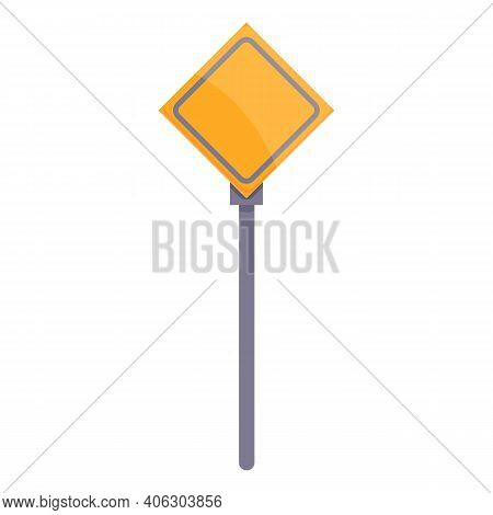 Highway Construction Priority Sign Icon. Cartoon Of Highway Construction Priority Sign Vector Icon F