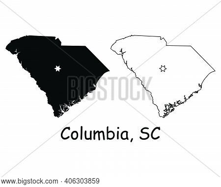 South Carolina Sc State Map Usa With Capital City Star At Columbia. Black Silhouette And Outline Iso