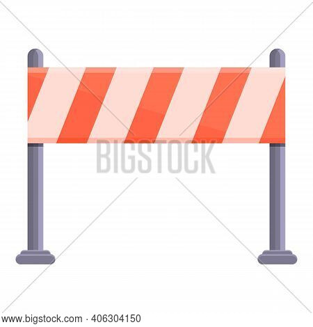 Red White Road Barrier Icon. Cartoon Of Red White Road Barrier Vector Icon For Web Design Isolated O