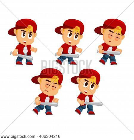 Boy Character With Hat Attack Game Kits Adventure Design Sprite