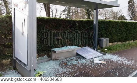 Bordeaux , Aquitaine  France - 02 02 2021 : Vandalized Bus Stop With Broken Windows By Protesters Ex