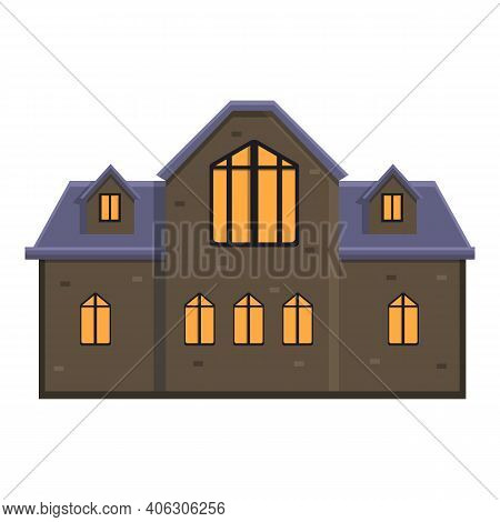 Night Creepy House Icon. Cartoon Of Night Creepy House Vector Icon For Web Design Isolated On White