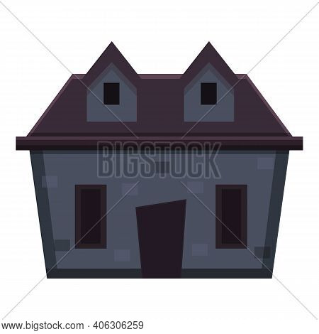 Spooky Creepy House Icon. Cartoon Of Spooky Creepy House Vector Icon For Web Design Isolated On Whit