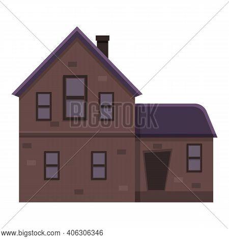 Dark Creepy House Icon. Cartoon Of Dark Creepy House Vector Icon For Web Design Isolated On White Ba