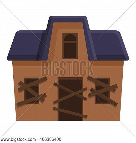 Season Creepy House Icon. Cartoon Of Season Creepy House Vector Icon For Web Design Isolated On Whit