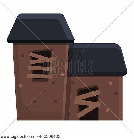 Window Creepy House Icon. Cartoon Of Window Creepy House Vector Icon For Web Design Isolated On Whit