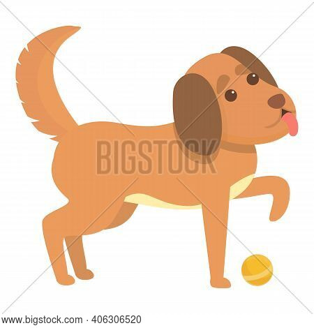 Playful Dog With Dog Icon. Cartoon Of Playful Dog With Dog Vector Icon For Web Design Isolated On Wh